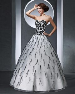 Sweetheart Applique Floor Length Satin Tulle Woman Ball Grown Prom Dress