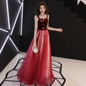 Chic / Beautiful Burgundy Prom Dresses 2019 Sheath / Fit Shoulders Sleeveless Glitter Sequins Floor-Length / Long Ruffle Backless Formal Dresses