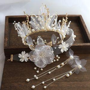 Uroczy Złote Biżuteria Ślubna 2020 Stop Kwiat Jedwabiu Perła Rhinestone Naszyjnik Kolczyki Tiara Ozdoby Do Włosów Ślubne