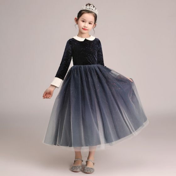 Starry Sky Navy Blue Gradient-Color Winter Birthday Flower Girl Dresses 2020 A-Line / Princess Scoop Neck Long Sleeve Glitter Tulle Tea-length Ruffle
