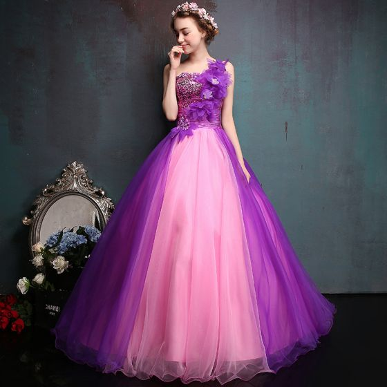 Chic / Beautiful Purple Prom Dresses 2017 Ball Gown One-Shoulder Tulle Appliques Backless Beading Sequins Prom Formal Dresses