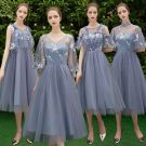 Discount Ocean Blue Bridesmaid Dresses 2019 A-Line / Princess Appliques Lace Tea-length Ruffle Backless Wedding Party Dresses