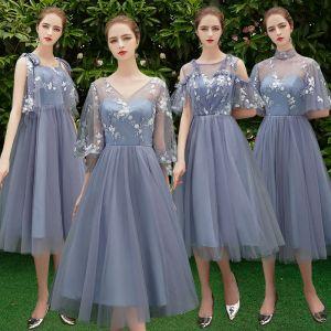 Discount Ocean Blue Bridesmaid Dresses 2019 A-Line / Princess Appliques Lace Tea-length Ruffle Backless Wedding Party Dresses