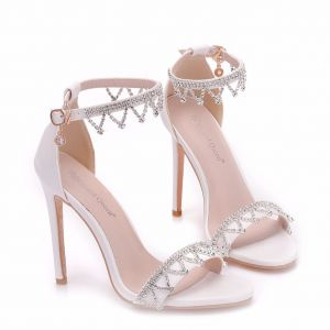 Modern / Fashion White Evening Party Womens Sandals 2018 Rhinestone Ankle Strap 11 cm Stiletto Heels Open / Peep Toe Sandals