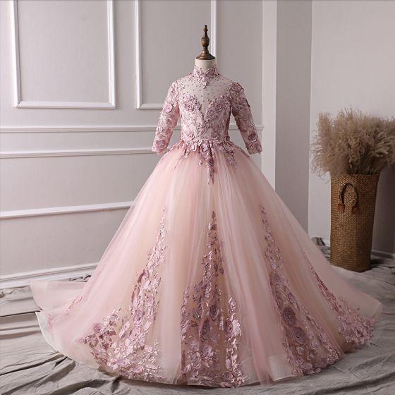 Magnífico Perla Rosada Vestidos para niñas 2019 A-Line / Princess Cuello Alto 3/4 Ærmer Apliques Con Encaje Perla Rhinestone Colas De La Corte Ruffle Sin Espalda Vestidos para bodas