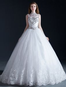Luxury High Neck Beading Crystal Sequins Ruffle Organza Ball Gown Wedding Dress