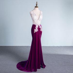 Unique Violett Abendkleider 2017 Mermaid V-Ausschnitt Polyester Perlenstickerei Pailletten Applikationen Rückenfreies Abend Festliche Kleider