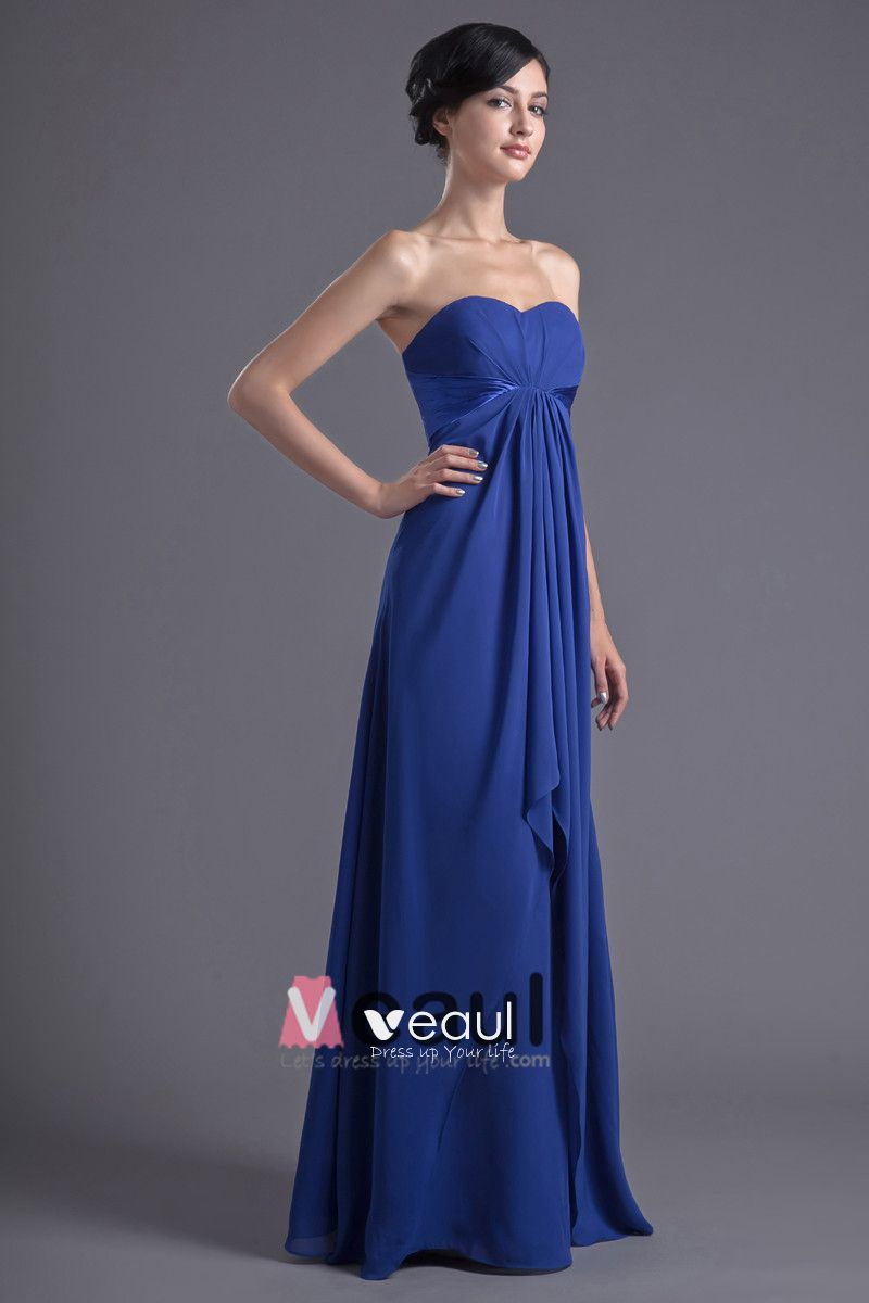 Fashion Chiffon Pleated Sweetheart Floor Length Bridesmaid Dress