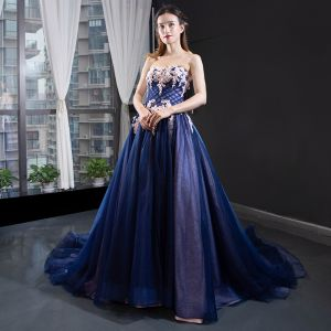 Chic / Beautiful Royal Blue Prom Dresses 2019 A-Line / Princess Sweetheart Beading Crystal Lace Flower Sleeveless Backless Court Train Formal Dresses