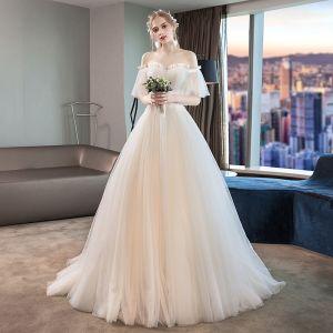 Eleganckie Kość Słoniowa Suknie Ślubne 2019 Princessa Plisowane Z Koronki Frezowanie Kryształ Przy Ramieniu Kótkie Rękawy Bez Pleców Trenem Sąd
