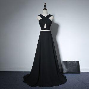 2 Stück Abend Festliche Kleider 2017 Abendkleider Schwarz A Linie Sweep / Pinsel Zug Rückenfreies V-Ausschnitt Ärmellos