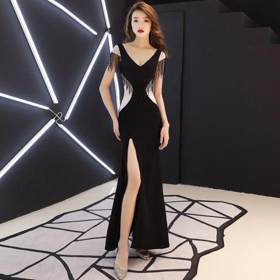 57d2fabb0cb80 Sexy Black See-through Evening Dresses 2019 Trumpet / Mermaid V-Neck Cap  Sleeves Beading Tassel Split Front Floor-Length / Long Backless Formal  Dresses