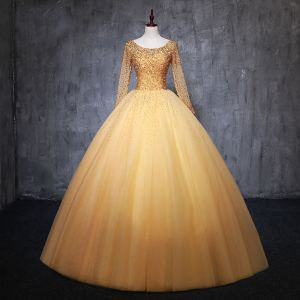 Chic / Beautiful Gold Prom Dresses 2019 Ball Gown Scoop Neck Beading Crystal Sequins Long Sleeve Backless Bow Floor-Length / Long Formal Dresses