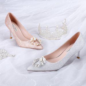Mode Glans Zilveren Bruidsschoenen 2020 Pailletten Parel Rhinestone 8 cm Naaldhakken / Stiletto Spitse Neus Huwelijk Pumps