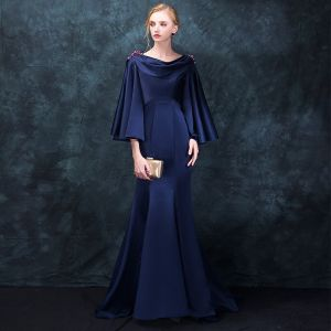 Modern / Fashion Navy Blue Evening Dresses  2018 Trumpet / Mermaid Square Neckline Long Sleeve Beading Sweep Train Ruffle Backless Formal Dresses