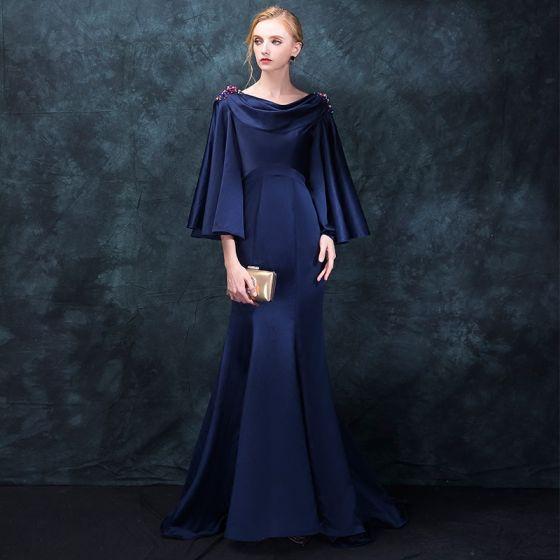Modern / Fashion Navy Blue Evening Dresses  2018 Trumpet / Mermaid Square Neckline Long Sleeve Beading Sweep Train Ruffle Backless Formal Dresses