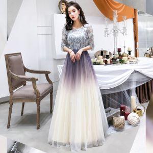 Chic / Belle Violet Dégradé De Couleur Transparentes Robe De Soirée 2019 Princesse Encolure Dégagée 1/2 Manches Paillettes Gland Longue Volants Robe De Ceremonie