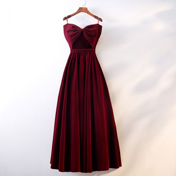 Chic / Beautiful Burgundy Prom Dresses 2019 A-Line / Princess Spaghetti Straps Suede Bow Sleeveless Backless Floor-Length / Long Formal Dresses