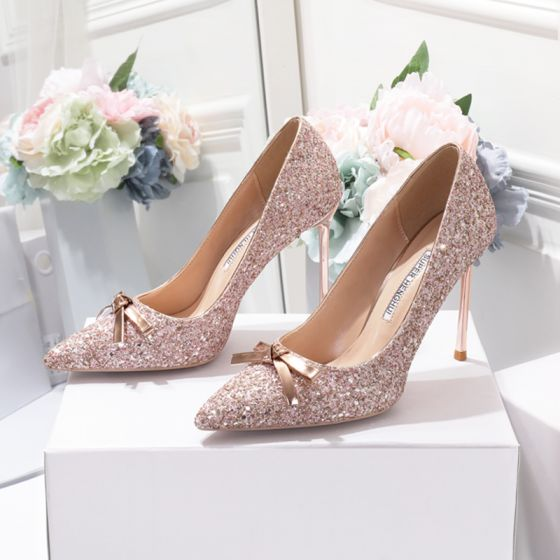 Sparkly Champagne Wedding Shoes 2020 Bow Sequins 10 cm Stiletto Heels Pointed Toe Wedding Pumps