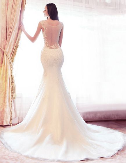 2015 Mermaid Pierced Backless Tailing Lace Wedding Dresses