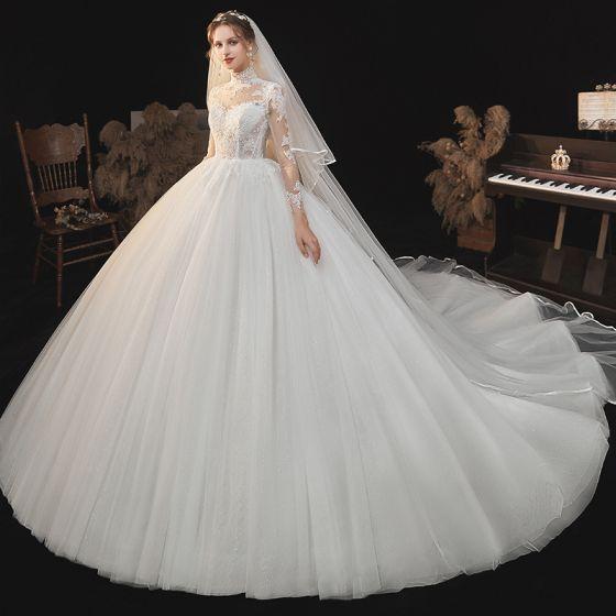 Illusion Ivory / Creme Durchsichtige Spitze Blumen Brautkleider / Hochzeitskleider 2021 Ballkleid Stehkragen 3/4 Ärmel Rückenfreies Kathedrale Schleppe Hochzeit