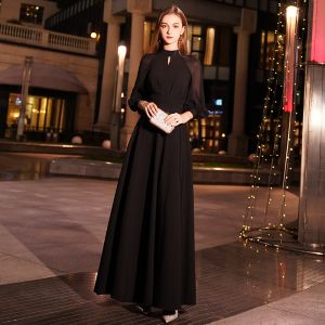 Modest / Simple Black Evening Dresses  2019 A-Line / Princess High Neck Puffy 3/4 Sleeve Floor-Length / Long Ruffle Formal Dresses