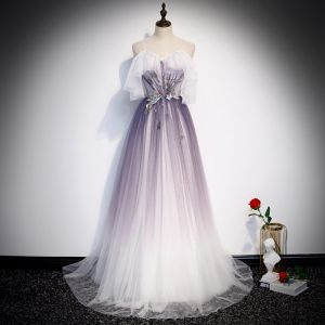 Elegant Purple Gradient-Color Evening Dresses  2020 A-Line / Princess Spaghetti Straps Short Sleeve Glitter Appliques Flower Floor-Length / Long Ruffle Backless Bow Formal Dresses
