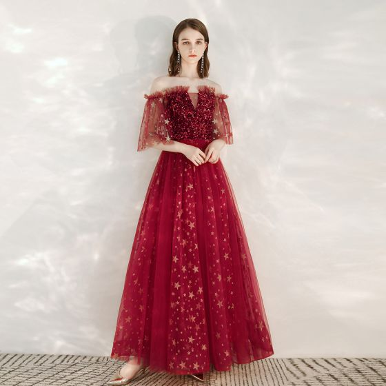 Mode Rouge Robe De Soirée 2020 Princesse De l'épaule 1/2 Manches Glitter Étoile Paillettes Longue Volants Dos Nu Robe De Ceremonie