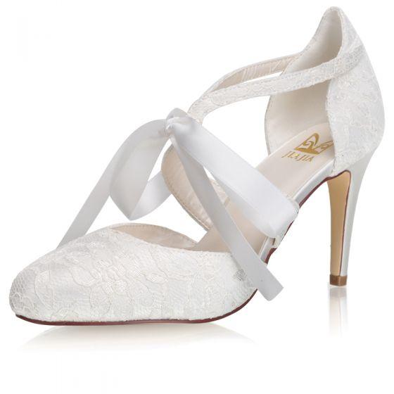 Elegant Ivory Satin Lace Wedding Shoes 2021 Bow 8 cm Stiletto Heels Pointed Toe Wedding High Heels