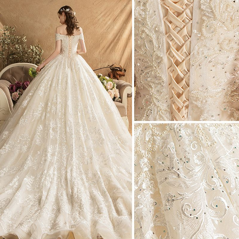 Luxury / Gorgeous Champagne Wedding Dresses 2019 Ball Gown Off-The-Shoulder Beading Pearl Rhinestone Lace Flower Short Sleeve Backless Royal Train