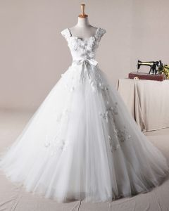 Graceful Ruffles Applique Shoulder Straps Tulle A Line Wedding Dress