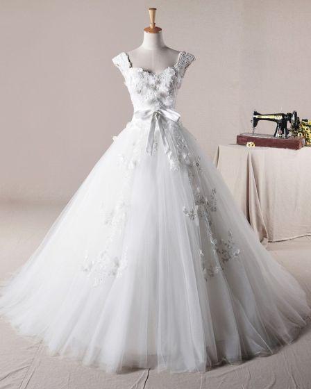 Graceful Ruffles Applique Shoulder Straps Tulle A Line Wedding Dress
