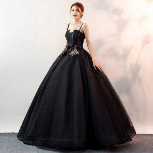 Niedrogie Czarne Sukienki Na Bal 2020 Suknia Balowa Spaghetti Pasy Bez Rękawów Aplikacje Z Koronki Długie Wzburzyć Bez Pleców Sukienki Wizytowe