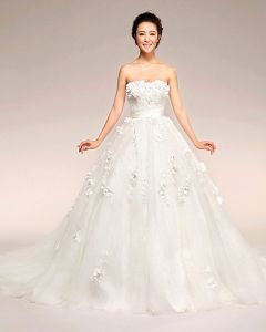 Applique Beading Sweetheart Floor Length Satin Ball Gown Wedding Dress