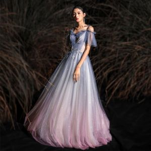 Charming Gradient-Color Glitter Evening Dresses  2020 A-Line / Princess Spaghetti Straps Beading Short Sleeve Backless Floor-Length / Long Formal Dresses