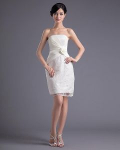 Fashion Satin Lace Pleated Flower Strapless Thigh Length Mini Wedding Dress