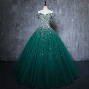 Vintage / Retro Dark Green Handmade  Beading Prom Dresses 2019 A-Line / Princess Off-The-Shoulder Sequins Sleeveless Backless Floor-Length / Long Formal Dresses