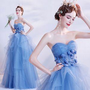 Elegante Oceaan Blauw Dansen Galajurken 2020 Baljurk Geliefde Mouwloos Appliques Bloem Kralen Lange Ruche Ruglooze Gelegenheid Jurken