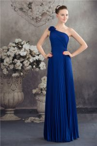 Elegant One Shoulder With Handmade Flower Pleated Long Dress Blue Bridesmaid Dresses