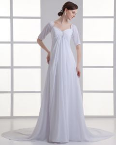 En Mousseline A Volants Bretelles Train Robe De Mariée Empire