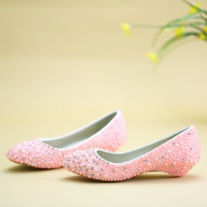 Chic / Beautiful Candy Pink Flat Wedding Shoes 2019 Pearl Rhinestone Pointed Toe
