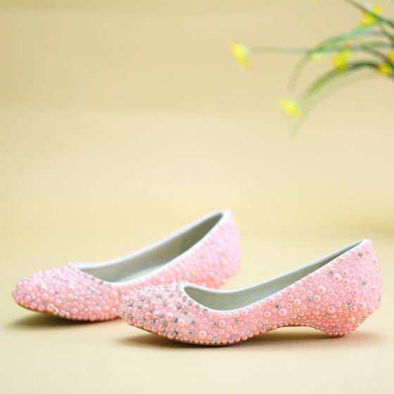 Beautiful Candy Pink Flat Wedding Shoes