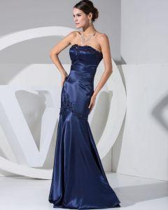Satin De Soie Applique Train Tribunal Bretelles Femmes Robe De Soirée De Mode