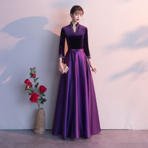 Vintage / Originale Grape Robe De Soirée 2019 Princesse V-Cou Noeud 3/4 Manches Longue Robe De Ceremonie