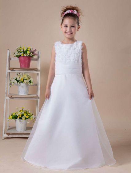 d93acb6eef Biała Linia Aplikacje Bez Rękawów Sukienki Dla Dziewczynek Sukienki  Komunijne