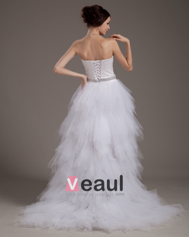 Yarn Strapless Ruffles Short Bridal Gown Wedding Dresses