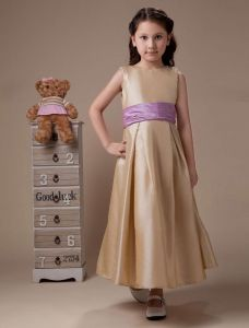 Sleeveless Sash Taffeta Flower Girl Dress
