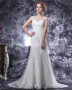 V Neck Beading Applique Floor Length Satin Sheath Wedding Dress