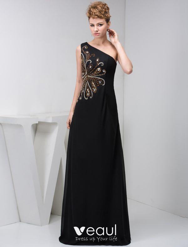 2015 Elegante Una Línea De Un Hombro Rebordear Vestido Negro Formal Vestidos De Noche Largos