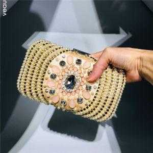 Charmant Gold Quadratische Clutch Tasche 2020 Perlenstickerei Perle Strass